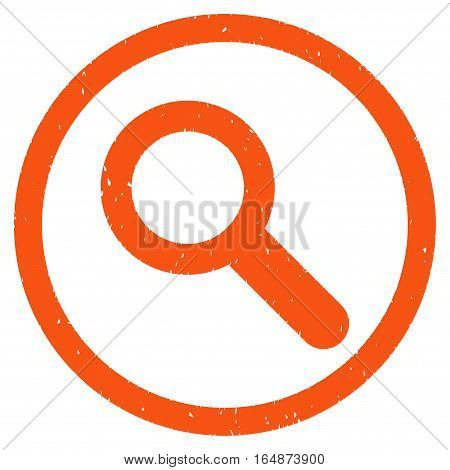 Search rubber seal stamp watermark. Icon vector symbol with grunge design and corrosion texture. Scratched orange ink sticker on a white background.