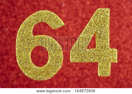 Number sixty-four yellow color over a red background. Anniversary. Horizontal