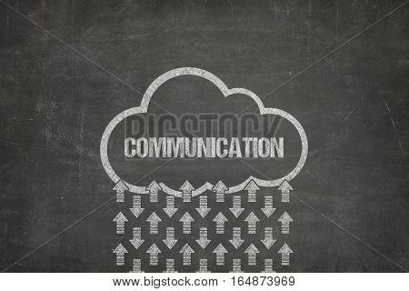Communication text on black blackboard with cloud symbol