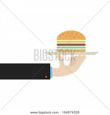 hand holding dish with hamburger. concept of gourmet, unhealthy gastronomy, servant, banquet, dine, luncheonette. isolated on white background. flat style trend modern design vector illustration