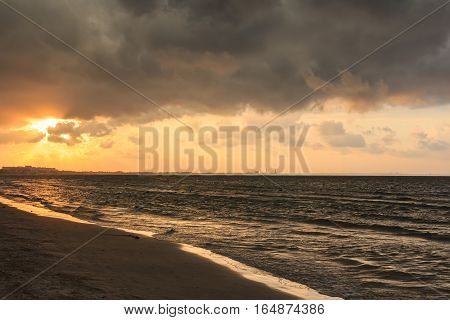 Seascape of beautiful sunrise in the sea