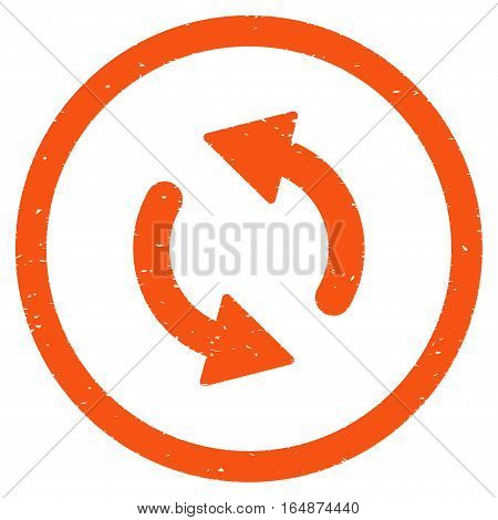 Update Arrows rubber seal stamp watermark. Icon vector symbol with grunge design and dirty texture. Scratched orange ink emblem on a white background.