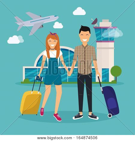 Young Couple traveling with travel bag holding passport and tickets. Airport. Travel and tourism. Flat design modern vector illustration concept.