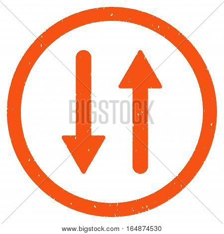Vertical Exchange Arrows rubber seal stamp watermark. Icon vector symbol with grunge design and dust texture. Scratched orange ink emblem on a white background.