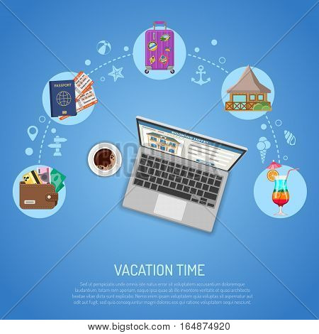 Vacation Concept and Tourism Infographics with Flat Icons Planning, Booking, Tickets, bungalow and laptop. vector illustration