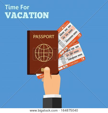 Vacation and Tourism Concept with Flat Icons Hand with Passport and airplane tickets. isolated vector illustration