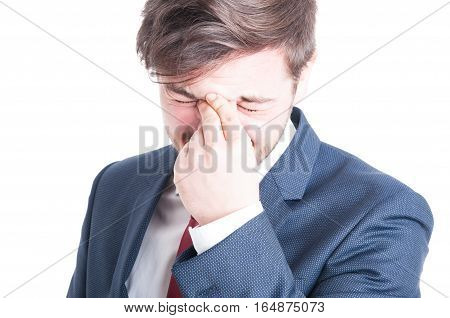 Close-up Of Business Man Having A Head Ache