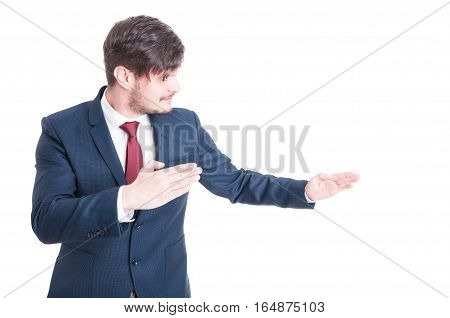Business Man Or Marketing Manager Standing In Fighting Position