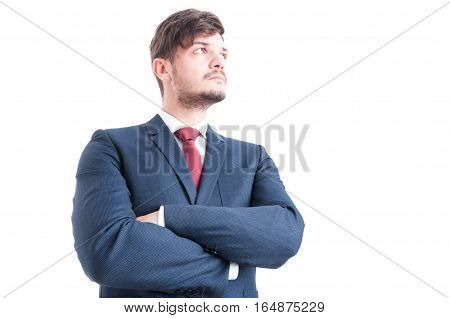 Hero Shot Of Business Man Standing With Arms Crossed