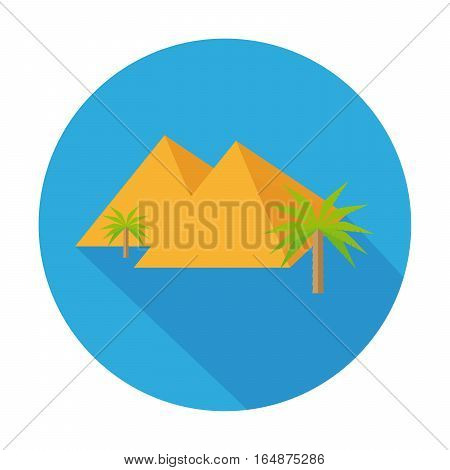 Flat Icon Pyramid With Palm Tree And Long Shadow For Travel