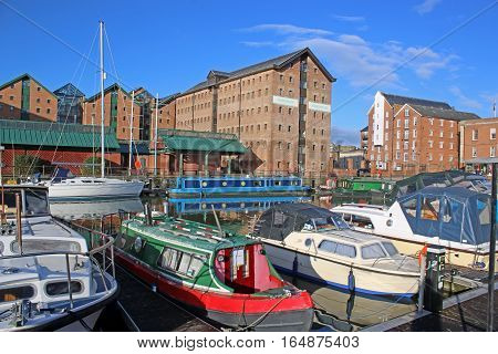 Narrow boats moored in Gloucester Docks, England