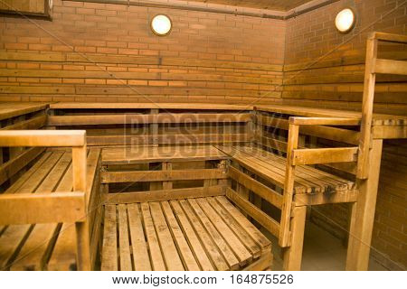 yellow wood interior baths house without people .