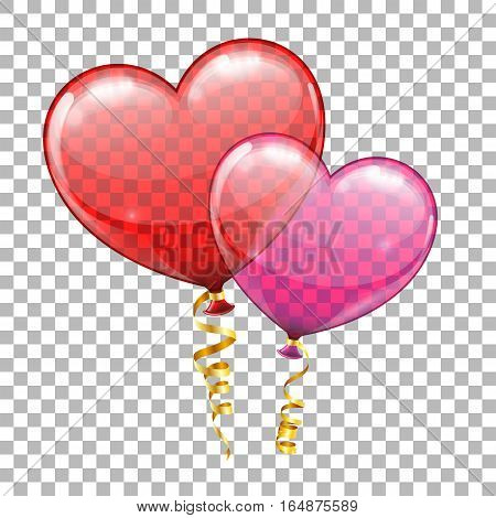 Valentines Day Holiday Concept with Heart Balloons and Streamer on transparent background. isolated vector illustration