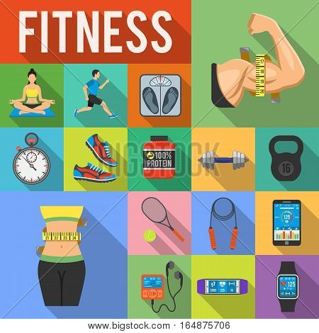 Fitness, Gym, Health Flat Icons Set with Long Shadow like Yoga, Runner, Weight and Gadgets. vector illustration