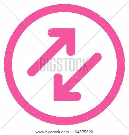 Diagonal Flipping Arrows rubber seal stamp watermark. Icon vector symbol with grunge design and dirty texture. Scratched pink ink sign on a white background.