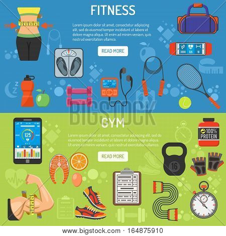 Fitness and gym horizontal banners with flat icons Scales, biceps, waistline and weight. vector illustration