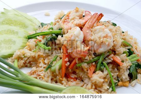 Delicious Shrimp Fried Rice. Unique Style In The White Dish On White Background,  Thai Food.