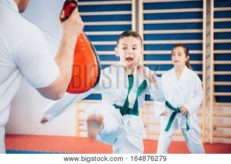 Group of children on Tae kwon do training with trainer