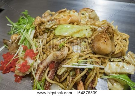 Scallops, Squid, Seafood Grill Noodles