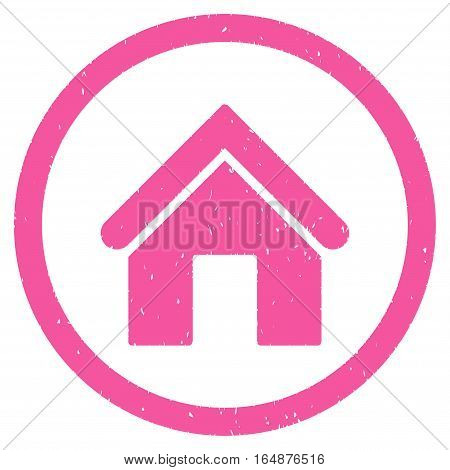 Home rubber seal stamp watermark. Icon vector symbol with grunge design and dust texture. Scratched pink ink sign on a white background.
