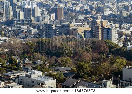 Aerial View Of Kyoto Imperial Palace And Kyoto Downtown Cityscape