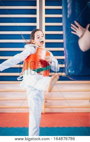 Child kicking punching bag on tae kwon do class