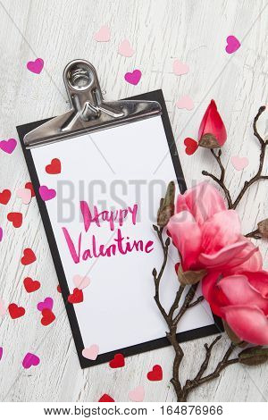 Valentine Background With Hearts And Flowers