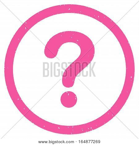 Question rubber seal stamp watermark. Icon vector symbol with grunge design and dust texture. Scratched pink ink sticker on a white background.