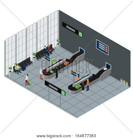 Arrival hall of airport with people waiting baggage sitting places and information boards isometric vector illustration