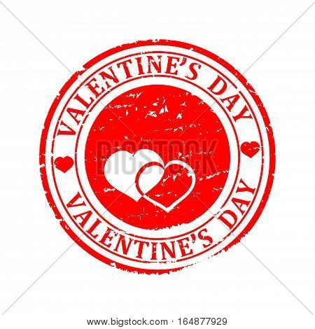 Scratched red round seal with the inscription - Happy Valentine's Day - vector