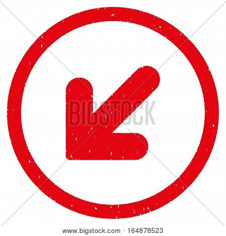 Arrow Down Left rubber seal stamp watermark. Icon vector symbol with grunge design and dust texture. Scratched red ink sign on a white background.