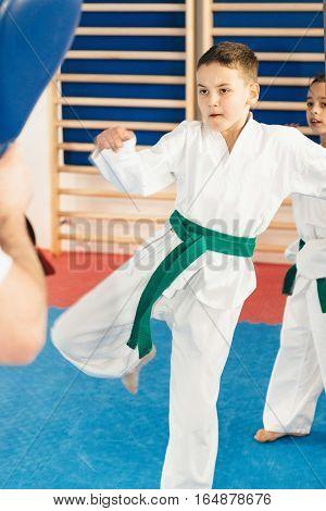 Boy on tae kwon do training, toned image
