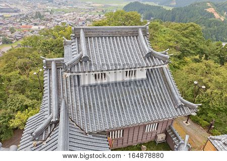 OHNO JAPAN - AUGUST 02 2016: Reconstructed minor donjon of Echizen Ohno castle. Castle was founded in 1576 by Kanamori Nagachika dismantled in 19th c reconstructed in 1968