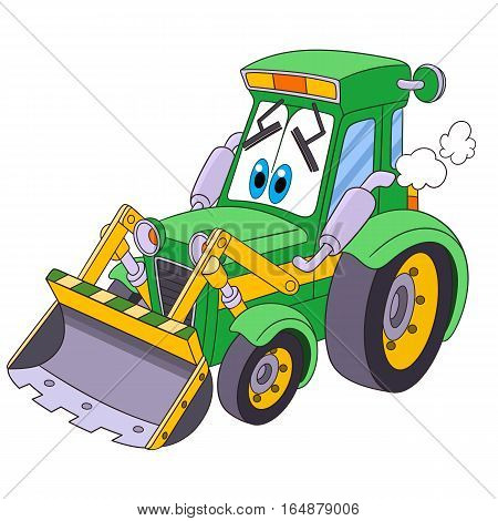 Cartoon vehicle transport. Tractor (bulldozer) isolated on white background. Childish vector illustration and colorful book page for kids.