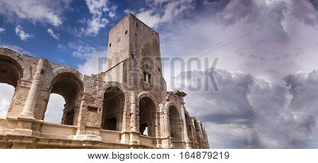 Website banner of the Roman Arena in Arles France