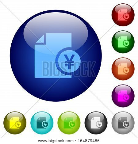 Yen financial report icons on round color glass buttons