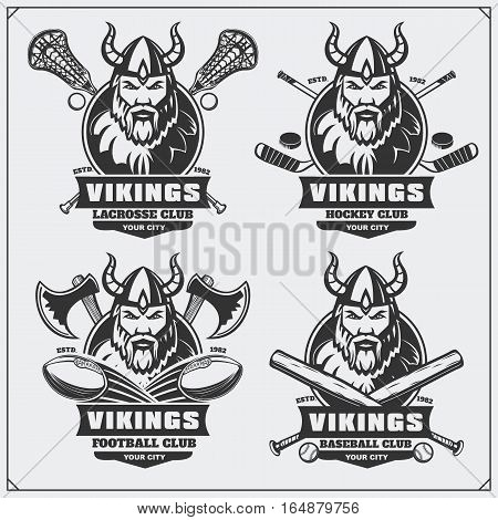 Football, baseball, lacrosse and hockey badges and labels. Sport club emblems with viking.