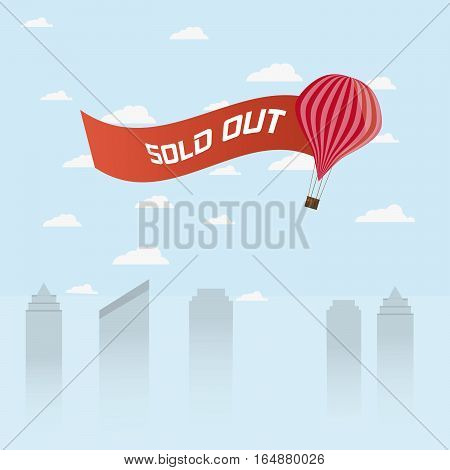 Balloon With Waving Sign Sold Out Over Skyscrapers