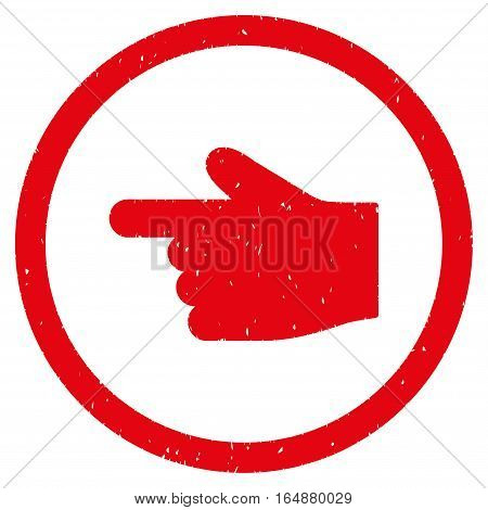 Index Finger Left Direction rubber seal stamp watermark. Icon vector symbol with grunge design and corrosion texture. Scratched red ink sticker on a white background.