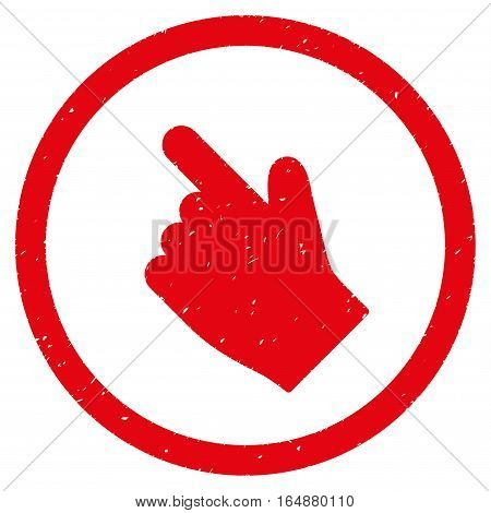 Index Finger Left Up Direction rubber seal stamp watermark. Icon vector symbol with grunge design and corrosion texture. Scratched red ink sticker on a white background.