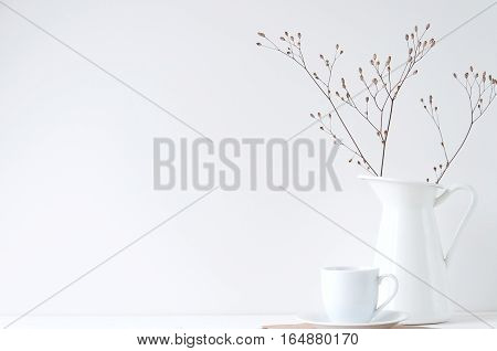 Minimal elegant composition with coffee cup and white vase for blogs, shops and social media