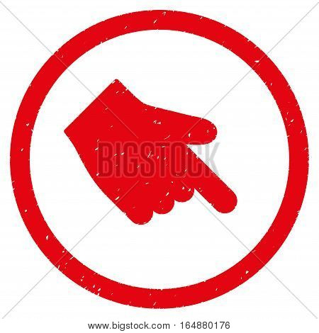 Index Finger Right Down Direction rubber seal stamp watermark. Icon vector symbol with grunge design and corrosion texture. Scratched red ink sign on a white background.