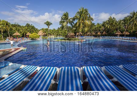 Swimming Pool In Luxury Resort, Riviera Maya, Mexico