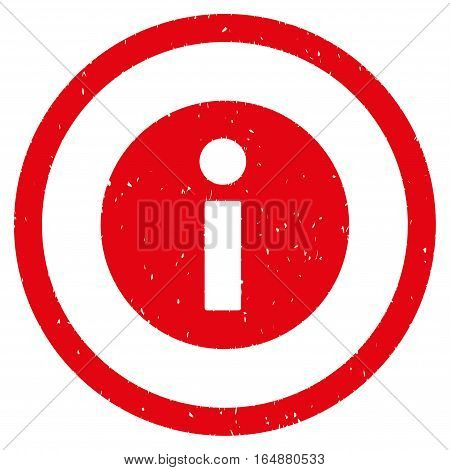 Information rubber seal stamp watermark. Icon vector symbol with grunge design and dirty texture. Scratched red ink sticker on a white background.