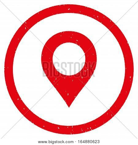 Map Marker rubber seal stamp watermark. Icon vector symbol with grunge design and dust texture. Scratched red ink sticker on a white background.