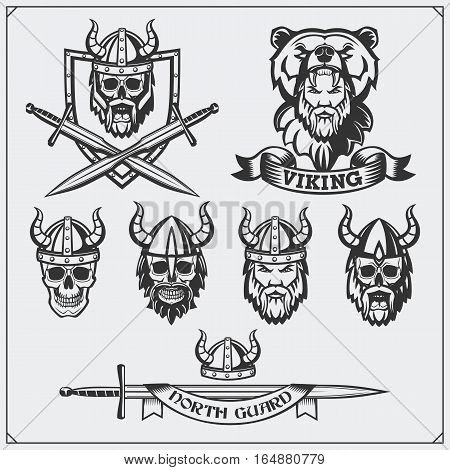 Set of viking labels, badges and emblems. Skull, horned helmet, warrior, shield, sword. Vintage style.