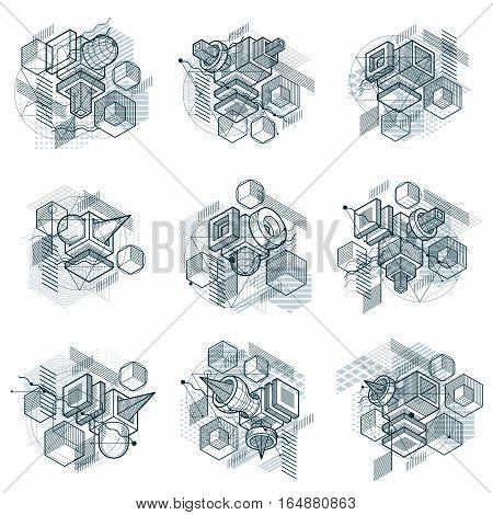 Vector Backgrounds With Abstract Isometric Lines And Figures. Templates Made With Cubes, Hexagons, S
