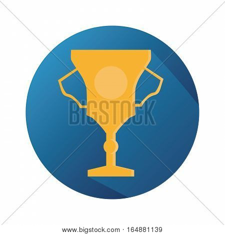 Vector Flat Gold Shiny Trophy With Long Shadow And Blue Background