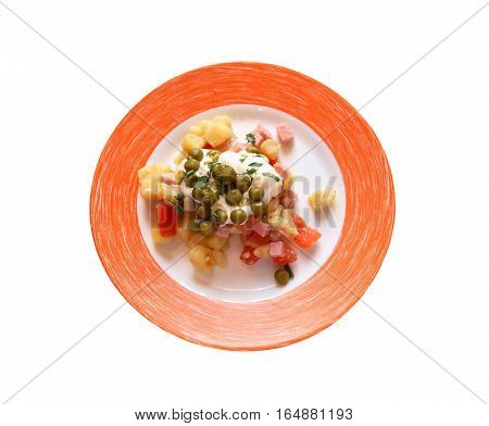 Appetizer for dinner. Plate with salad on white background. Isolated with clipping path