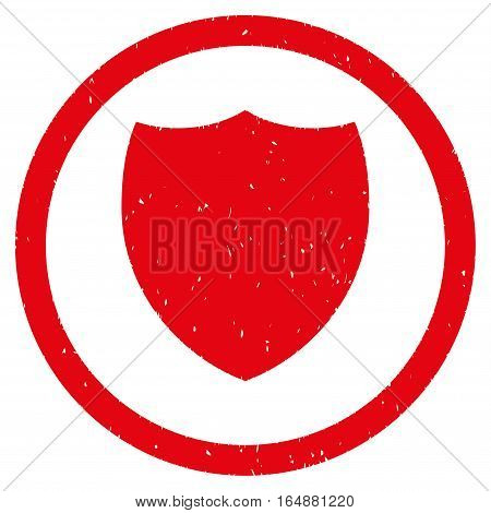 Shield rubber seal stamp watermark. Icon vector symbol with grunge design and corrosion texture. Scratched red ink sticker on a white background.